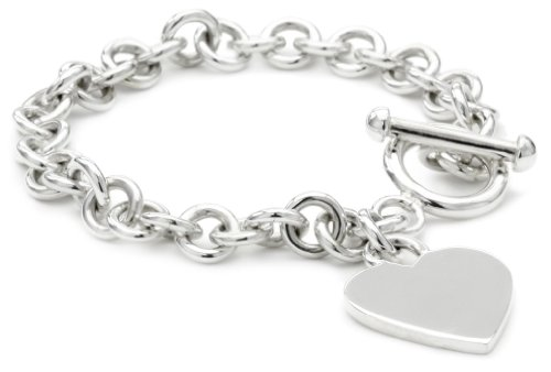 Zina Sterling Silver Contemporary Collection Heart Tag with Toggle