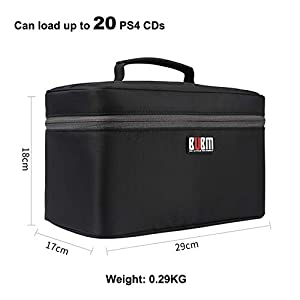 Game Disc Case Holder for PS4/ PS4 PRO/Xbox One Carrying Bag Storage Organizer for Car Home Office Travel Handbag (Hold 20 Discs)(Black) [video game] [video game] [video game] [video game] (Color: Black and Grey)