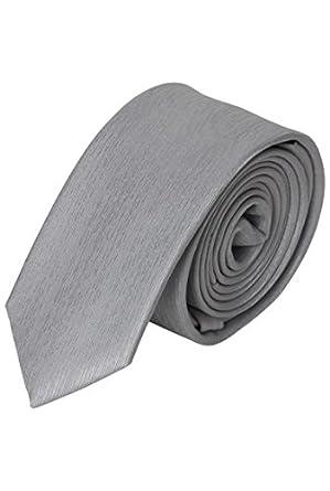 Cravate slim satinée pour homme - Gris Argent - Unique