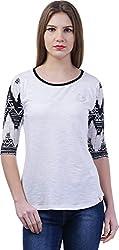 TSAVO Women's Regular Fit Top (1214_WHITE, White, X-Small)