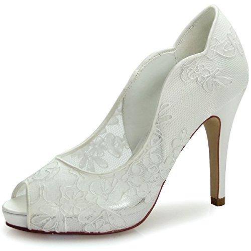Elegantpark HP1504I Women's Peep Toe Wave Edge Platform Stiletto Lace Wedding Bridal Evening Pumps Shoes Ivory 7 (Bridal Shoes Ivory compare prices)