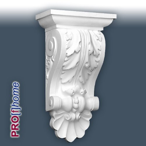 B408 Corbel has an acanthus leaf pattern, and the side panels feature a neat scroll relief truncated by a scalloped base detailing. Used as a shelf bracket or lintel kneeler the product looks appropriate in older properties with high ceilings.