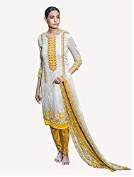 Off White Printed With Embroidery Cotton Silk Salwar Suit