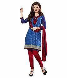 TFW Blue Color Unstitched Salwar Kameez Dress Material