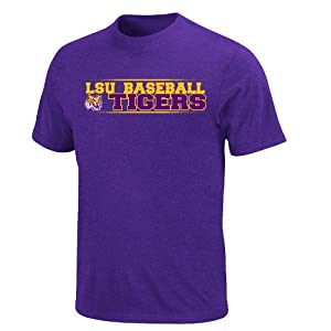 Buy NCAA LSU Tigers Baseline Jam Basic T-Shirt, Regal Purple Heather by Majestic