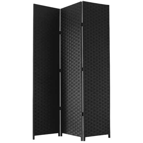 jvl-screen-folding-free-standing-decorative-with-black-hinges-woven-paper-black