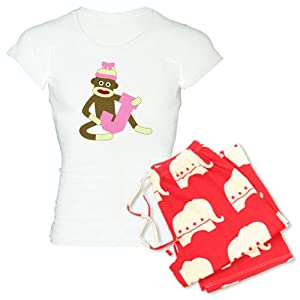 CafePress Sock Monkey Monogram Girl J Women's Light Pajamas Women's Light