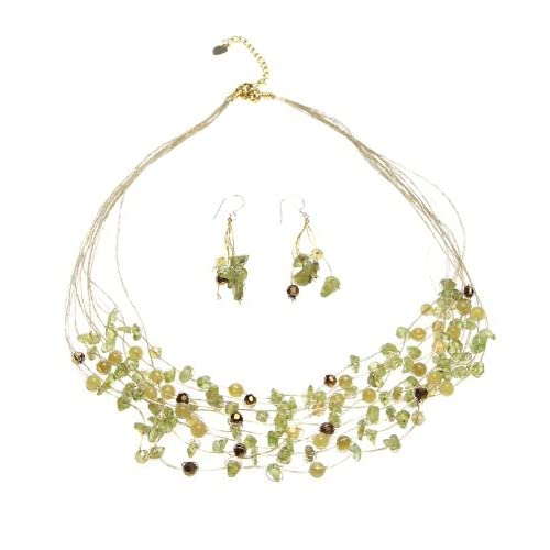 Oi-Peridot-Crystal-Multi-Strand-on-Silk-Necklace-and-Earrings-Set
