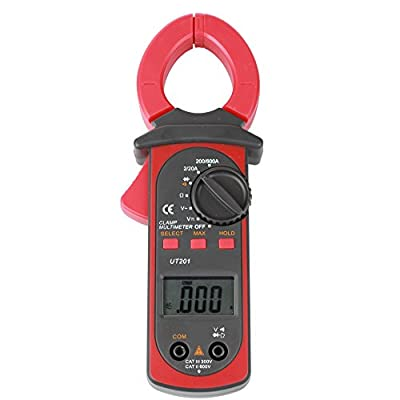 Flexzion Digital Clamp Meter 600 Amp LCD Multimeter DMM DC AC Voltage Ampere Auto Range Temperature Tester Portable Lightweight for Schools Factories Families and Amateurs UNI-T UT201