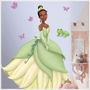 Tiana Disney Princess Mega Decal Pack - Includes 1 Giant Tiana Princess And The Frog Wall Decal (17 Pieces) And 37 Wall Decals With 40+ Peel And Stick Gems And 3D Butterflies front-1024492