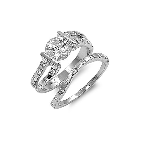 Tension Set Round Center With Round Stones Cz Wedding Set Ring Sterling Silver Size 7