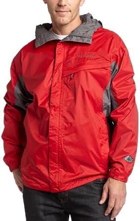 Columbia Men's Big Watertight Packable Rain Jacket, Intense Red/Charcoal, 2X