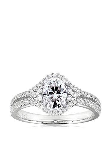 Kobelli 14K White Gold Oval-Cut Moissanite & Diamond Engagement Ring