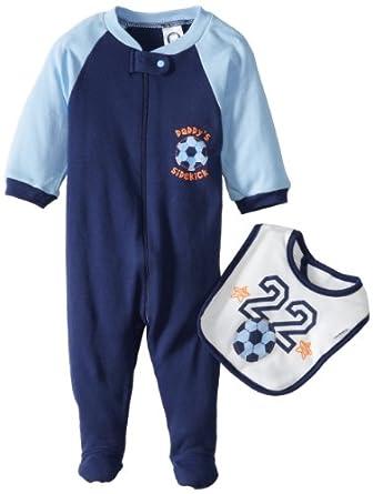 Gerber Baby-Boys Newborn 2 Piece Zipper Sleep N Play and Bib Set, Soccer, Newborn