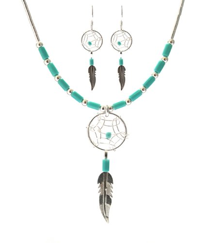 Dream Catcher Turquoise Necklace Medium Feather Earrings Set, 18