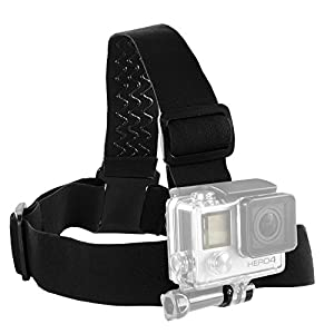 micros2u GoPro Fully Adjustable non Slip Head Strap Mount with Thumb screw Release mount - Suits Gopro 1,2 and 3+, 4