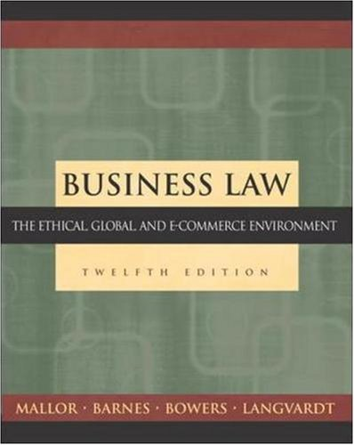 Business law 15th edition mallor