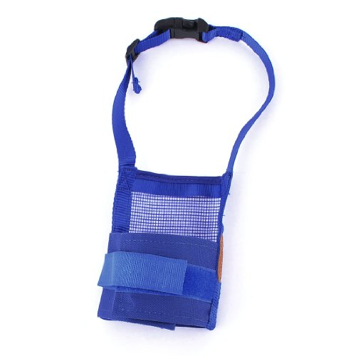 Release Buckle Blue Adjustable Belt Mesh Basket Muzzle For Pet Dog front-1059321