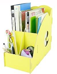 Menu Life Desk Storage Expander File Holder File Folder Organiser File Desk File Storage Box Wooden Magazine Holder Tidy (Yellow)