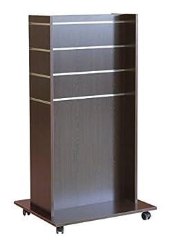 Ladeneinrichtung H Gondel - Panel expositor móvil (madera de wengué, 73 x 60 x 133 cm, con ruedas)