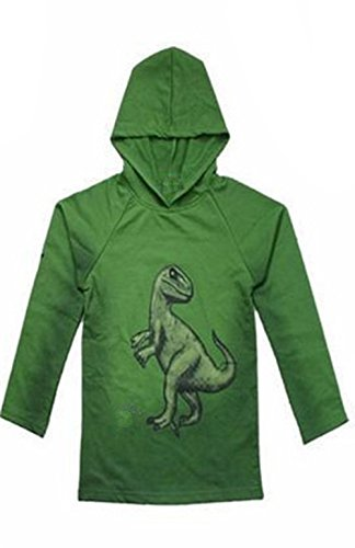 Wind Girl boy dinosaur hoodies-Blue-130