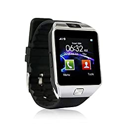 Yuntab SW01 Watch Bluetooth Smart Watch Fitness Wrist Wrap Watch Phone with Camera Touch Screen for Samsung HTC LG Android Phone Smartphone, support SIM card (Black)