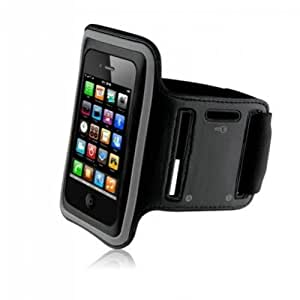 King of Flash Premium Quality iPhone 4 4S Touch 4 4G Soft Armband Case Cover with Key Pocket for Gym, Cycling, Jogging & Other Sports Activities (Black)