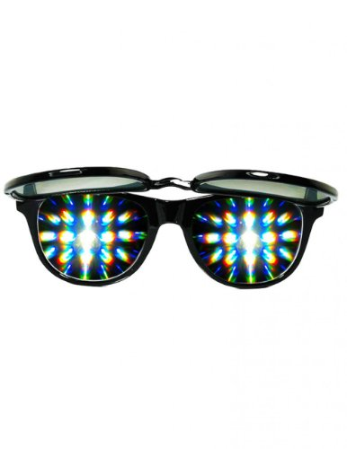 Solid Flip Up Emerald Diffraction Glasses (Black)
