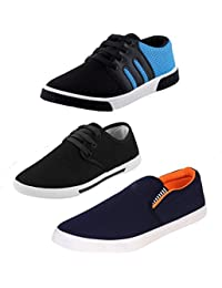 Dailywreck Combo Of 3 Men's Canvas Black_Sky Blue Sneakers, Black Sneakers, Navy Blue Loafers Shoes
