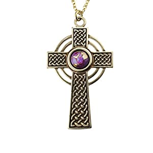 Small Celtic Cross with 8mm Persian Purple Copper Turquoise Gemstone on 18