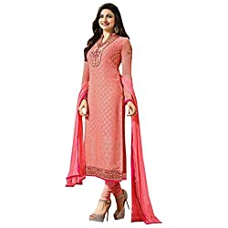 Radhika Dust rose pink Georgette Dress Material