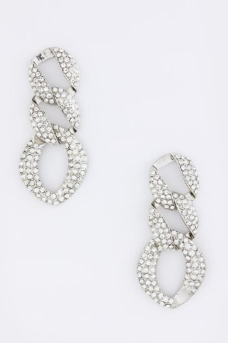 Baubles & Co Crystal Chain Linked Earrings (Silver)