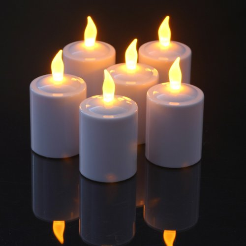 """Set Of 6 Long Life Pearl-White Finish Flickering Amber Led Votives With Electronic Timers; """"They Stay Lit For 4 Months On One Set Of Batteries!"""""""