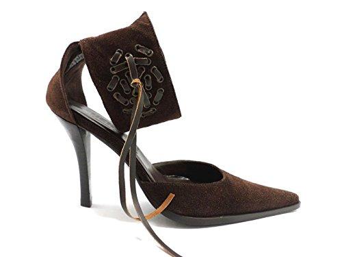 scarpe donna CESARE PACIOTTI 35 sandali marrone camoscio ZX154