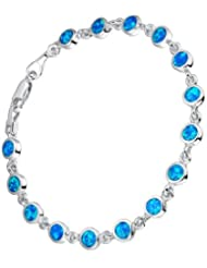 Sterling Silver Created Blue and Green Fire Opal Inlay Tennis Bracelet 18cm SC004B46