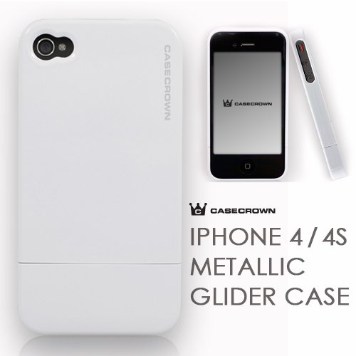 CaseCrown Apple iPhone 4 and 4S Metallic Glider Slim Case - White (Fits AT&T, Sprint and Verizon iPhone 4 and 4S)