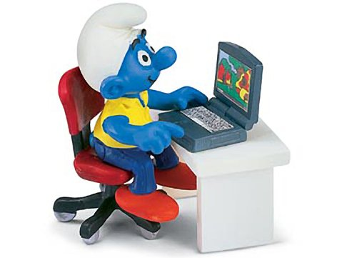 Buy Low Price Schleich Smurf with Laptop: Smurf in a Diorama Mini Figure Series [402638] (B004RWEJRM)