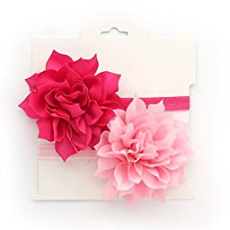 My Lello 2 Pack Infant Baby Mixed Colors Fabric Petal Flower Headbands (Shocking Hot Pink/Light Pink)