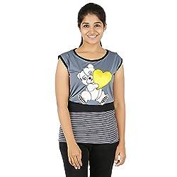 Knit Abc Garments Women's Character Top(KA-WTOP-HTY-17-BL-GR-L_Multicolor_Large)