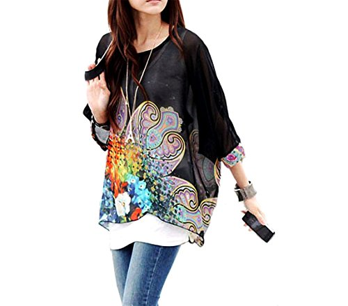 Blusa in chiffon oversize taglio asimmetrico maglia elegante e casual con stampa floreale nera 007 .MWS