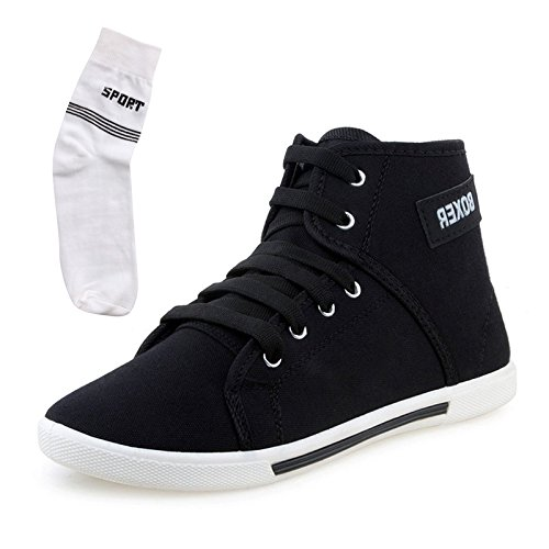 Maddy Men's Black Canvas Sneakers With 1 Pair Socks-6