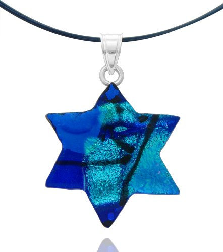 Sterling Silver Dichroic Glass Blue Star of David Pendant Necklace on Stainless Steel Wire, 18