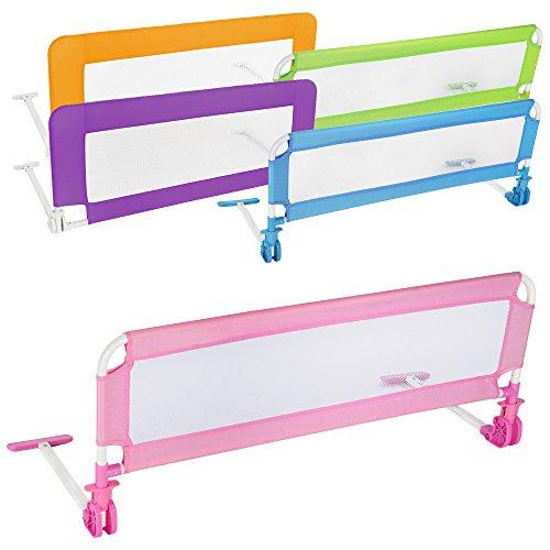 TecTake-Kinder-Bettgitter-Bettschutzgitter-102cm-diverse-Farben-Pink