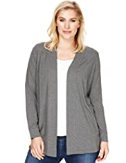 Plus Open Front Shawl Collar Slub Cardigan