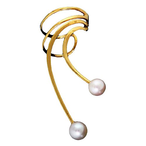Vermeil Right Only Pierceless Long Wave White Cultured Pearl Ear Cuffs