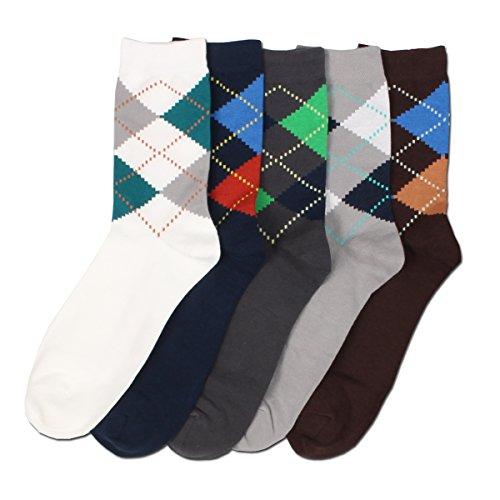 Mb Men'S 6 Pairs Classic Argyle Patterned Comfy Casual Cotton Fashion Crew Socks
