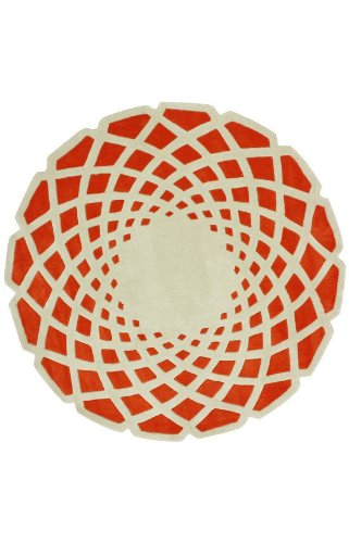 nuLOOM ACR138B Cine Collection Lumi Contemporary Hand Made Round Area Rug, 6-Feet, Orange
