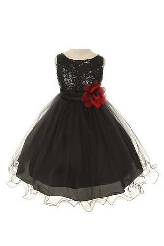 Absolutely Beautiful Sequined Bodice With Double Tulle Skirt Party Flower Girl Dress-Kd305-Black-4 front-995209