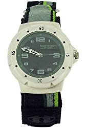 Terrain Black & Lime Stripe Velcro Strap Gents Sports Analogue Watch TV-1312G