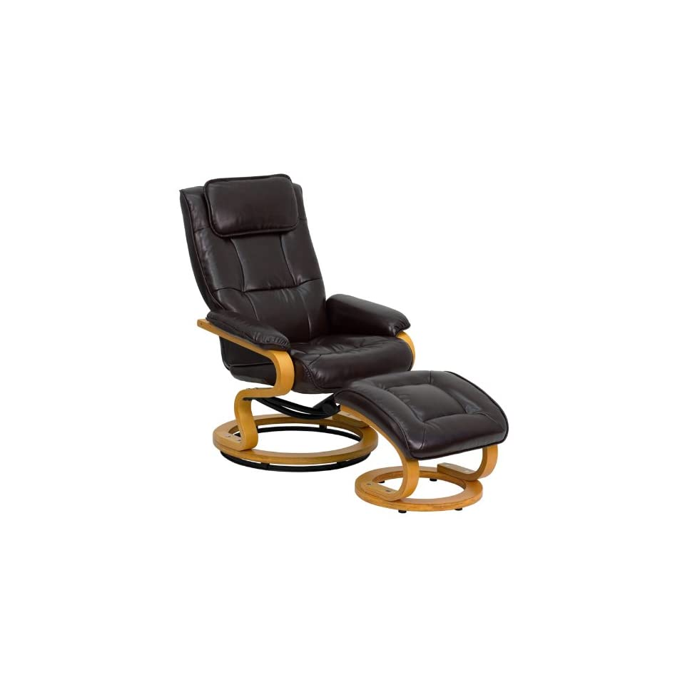 Miraculous Contemporary Brown Leather Recliner And Ottoman With On Machost Co Dining Chair Design Ideas Machostcouk